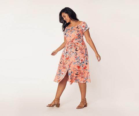 Curve Meadow Midi Dress*