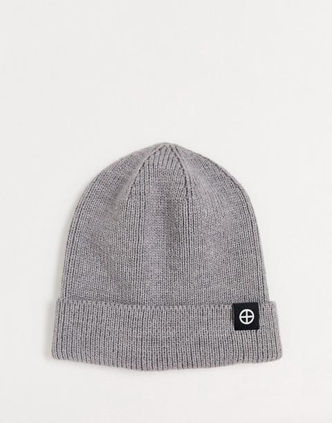 Religion Ribbed Knit Grey Beanie Hat