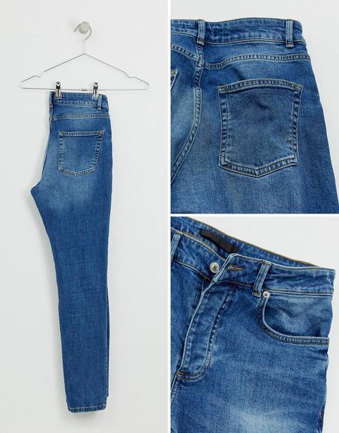 Mennace Skinny Rip Jeans In Blue