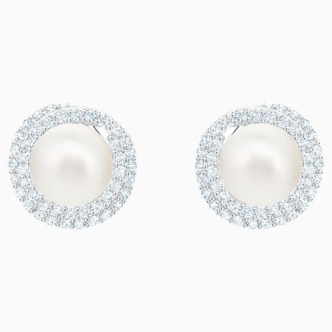 Pendientes Originally, Blanco, Baño De Rodio de Swarovski en 21 Buttons