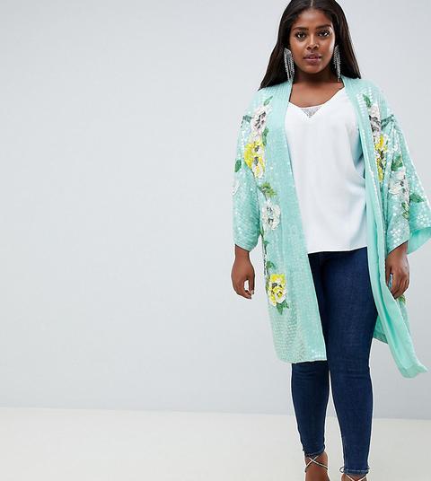 Chaqueta De Kimono Con Estampado Floral Y Adornos De Asos Design Curve de ASOS en 21 Buttons