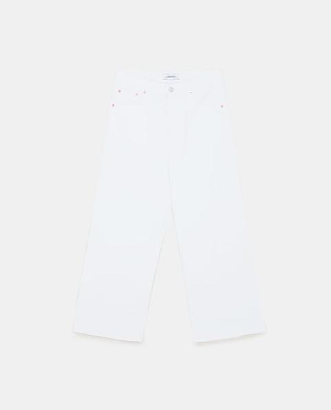 Jeans High Waist Culotte Pure White