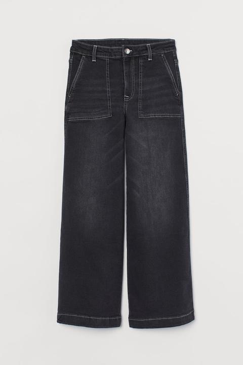 Culotte High Ankle Jeans - Noir