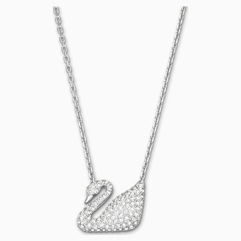 Collar Swan, Blanco, Baño De Rodio