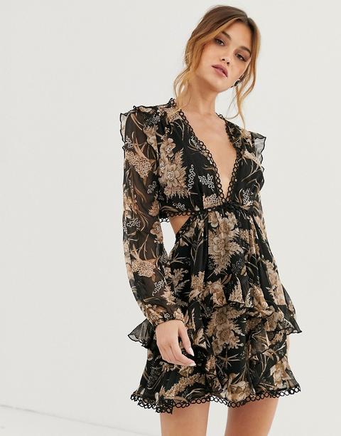 Asos Design Robe Courte Manches Longues A Fleurs Avec Ornements Et Bordures Cercles Ajourees From Asos On 21 Buttons