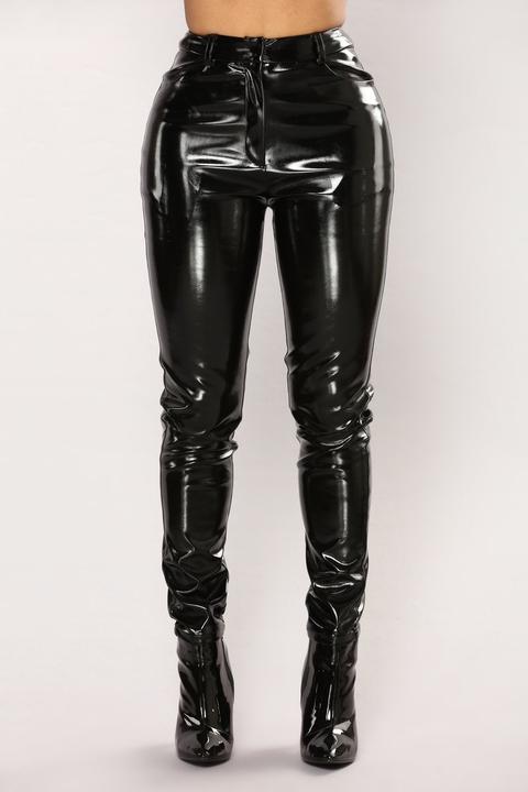 You Get Pretty Wild Latex Pants - Black