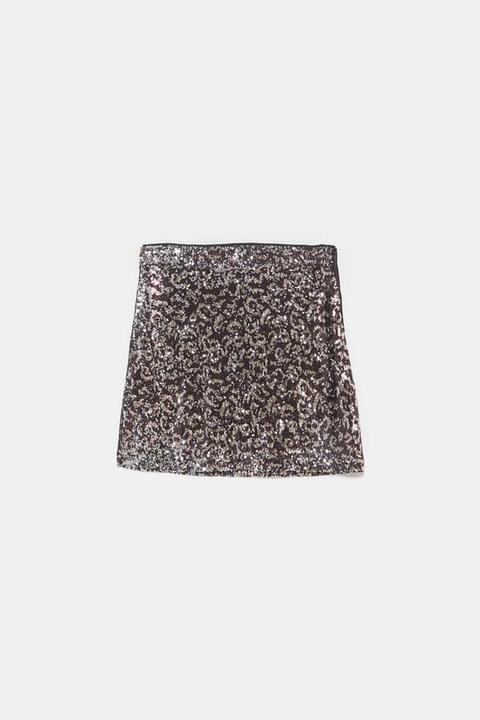 Minifalda Lentejuelas Estampado Animal