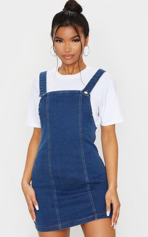 Mid Blue Wash Pinafore Denim Dress
