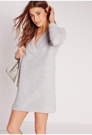 V-neck Long Sleeve Heavy Jumper Dress Grey