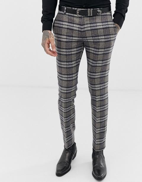 Pantalones De Traje Muy Ajustados A Cuadros Escoceses Moteados De Twisted Tailor-gris