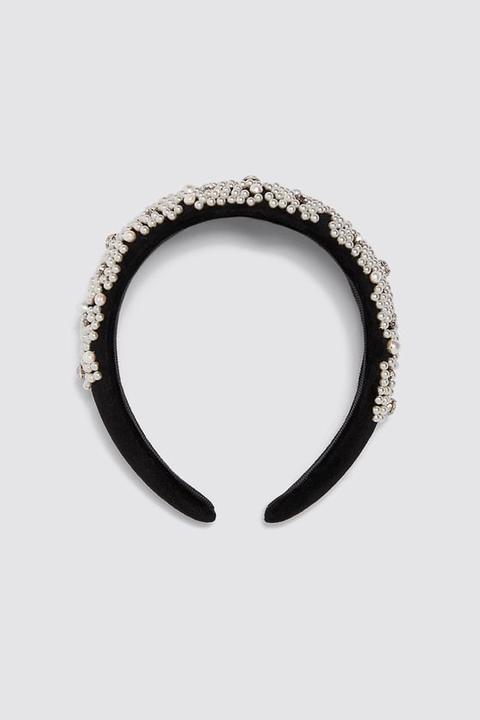 Diadema Acolchada Perlas Brillo