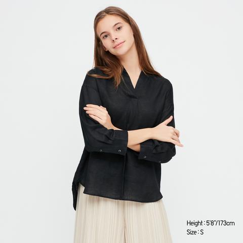 Camisa 100% Lino Prémium Cuello Abierto Manga Media Mujer