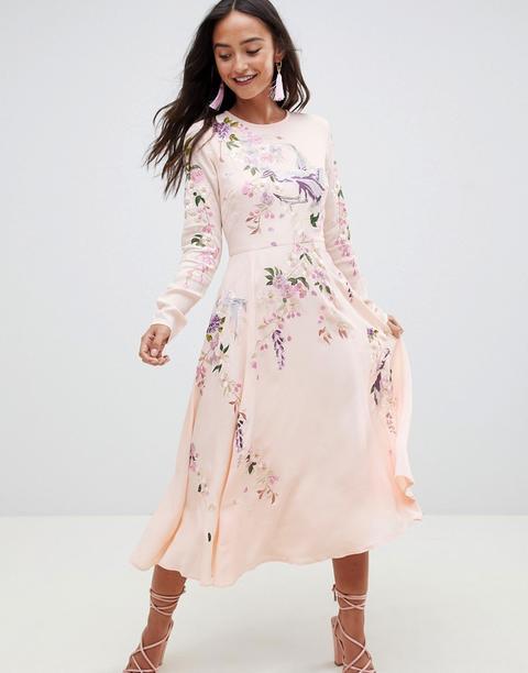 Vestido Midi Con Bonito Bordado De Pájaros Y Floral De Asos Design