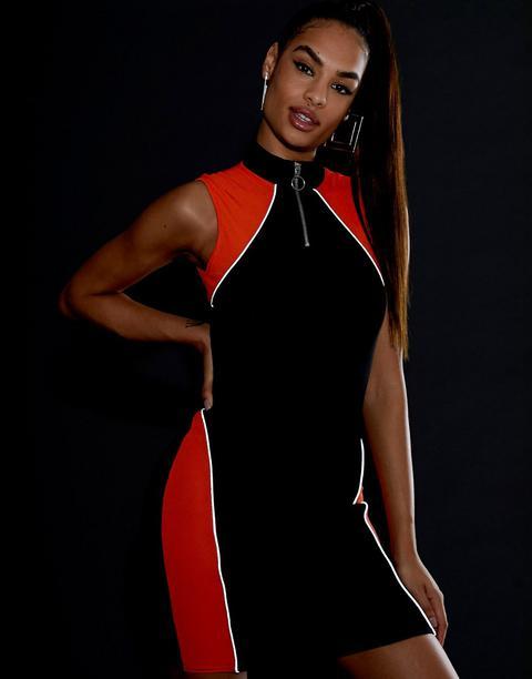 Asos Design - Robe Courte Côtelée Style Survêtement À Passepoils Réfléchissants-noir