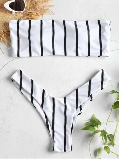 42a98115e74e Conjunto De Bikini Con Rayas Bandeau De Corte Alto White Black Cherry Red  from Zaful on 21 Buttons