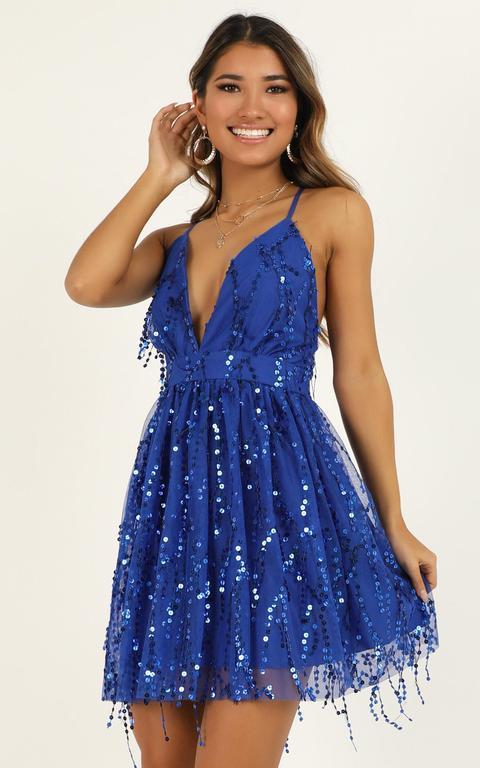 Watch The Queen Conquer Dress In Cobalt Blue Sequin