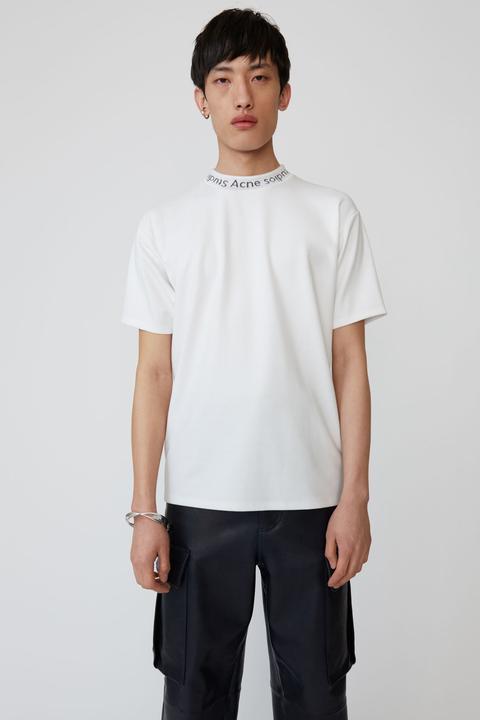 T shirt Ras Du Cou À Logo Blanc Optique from Acne on 21 Buttons