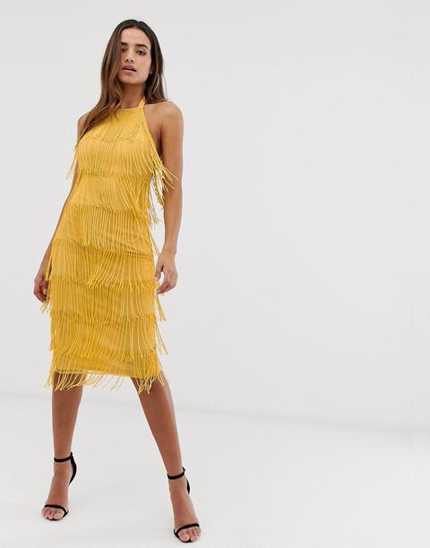 Vestido Midi Con Cuello Halter Y Adorno De Flecos De Asos Design-amarillo de ASOS en 21 Buttons