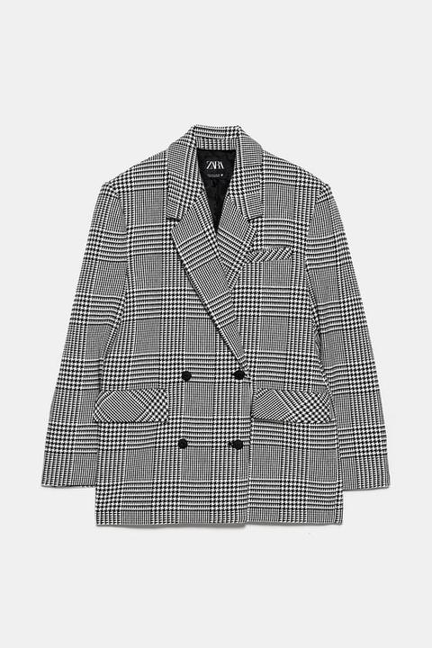 Cappotto Con Stampa Pied De Poule di Zara su 21 Buttons