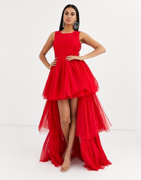Vestido Largo A Capas De Tul En Rijo Vivo De Lace & Beads-rojo de ASOS en 21 Buttons