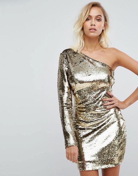 presa vincere tubo flessibile  Fashion Union - Vestito Monospalla Con Paillettes Oro - Oro from ...