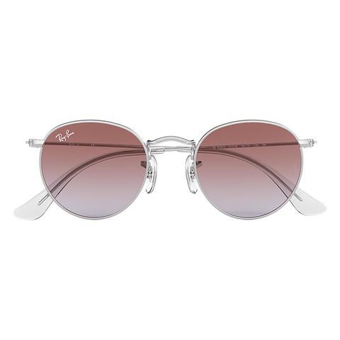 Round Metal Junior Unisex Sunglasses Lentes: Violeta, Montura: Plata