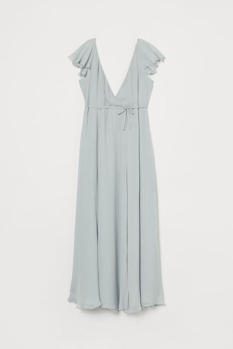 Vestido Cruzado Largo - Turquesa de H&M en 21 Buttons