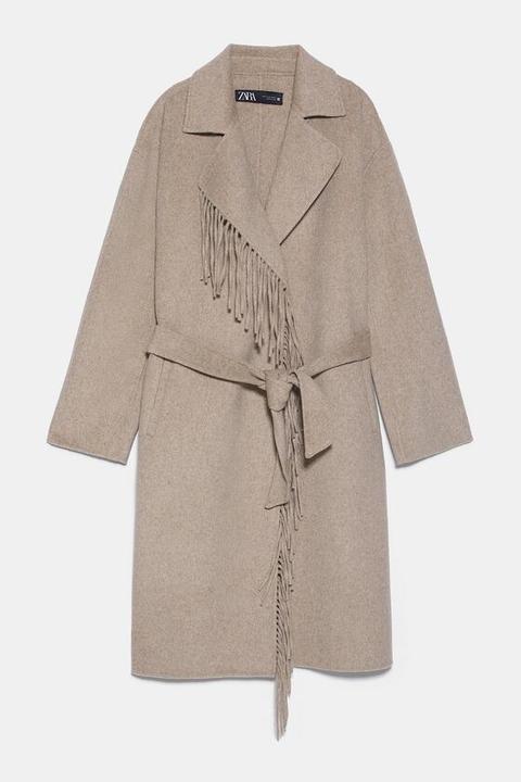 Abrigo Flecos Cinturón de Zara en 21 Buttons