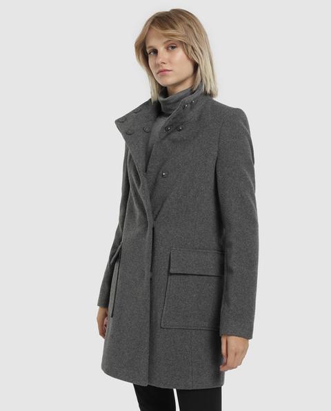 Easy Wear - Abrigo De Mujer Cuello Chimenea Bolsillos Plastrón de Easy Wear en 21 Buttons