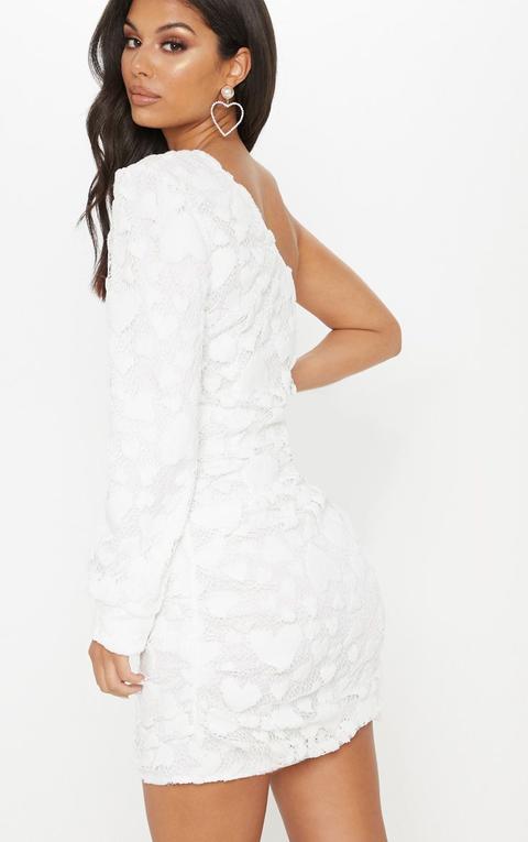 White One Shoulder Heart Detail Lace Bodycon Dress De Prettylittlething En 21 Buttons
