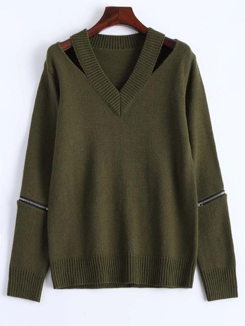 vendite calde 4a1f0 0a3fb Maglione Pullover Con Zip Con Scollo A V from Zaful on 21 Buttons