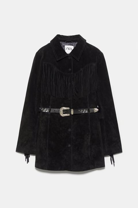 Chaqueta Piel Flecos Edición Limitada de Zara en 21 Buttons