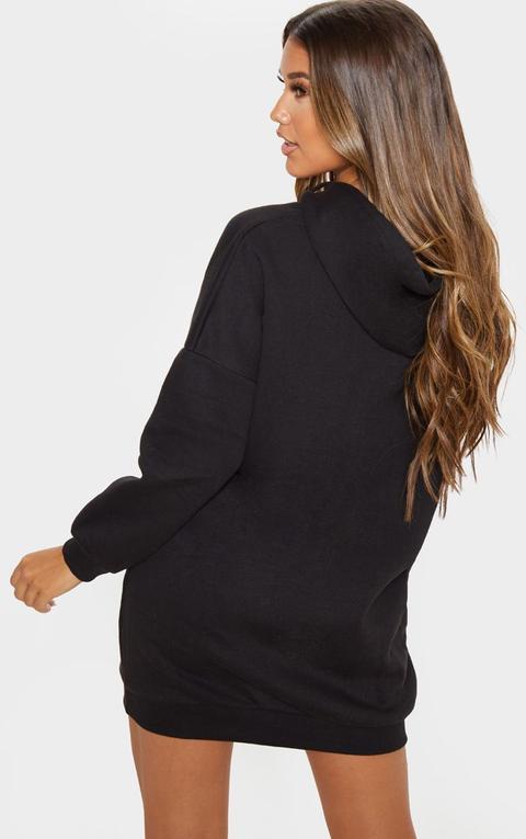 Robe Pull Noire À Capuche Oversize, Noir