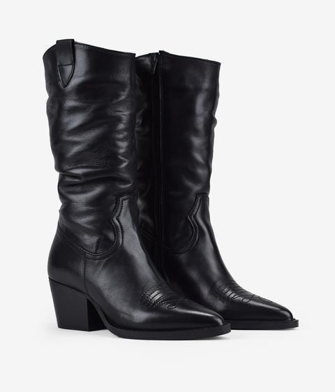 Bosanova - Botas Cowboy Negras Piel - Color: Negro