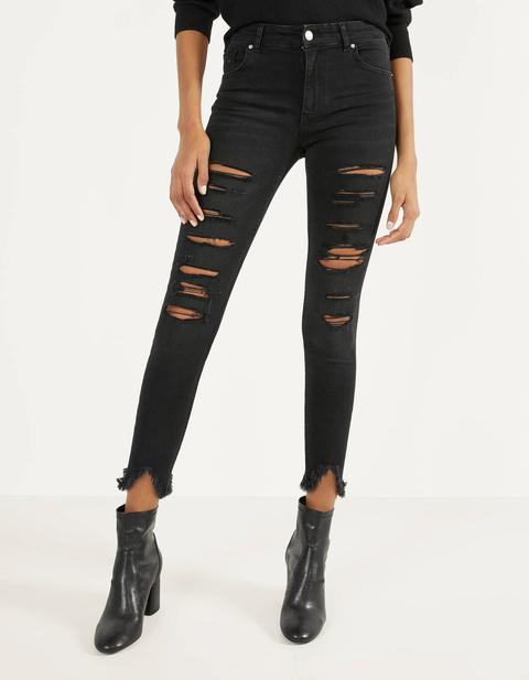 Jeans Skinny Low Waist Con Rotos de Bershka en 21 Buttons