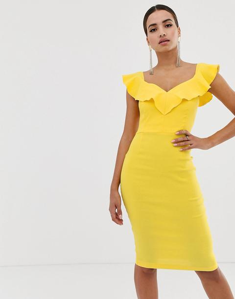 Vestido Ajustado Con Cuello Con Escote Corazón Y Relleno En Amarillo De Vesper