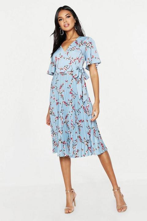 Womens Floral Print Pleated Midi Skater Dress - Blue - 8, Blue