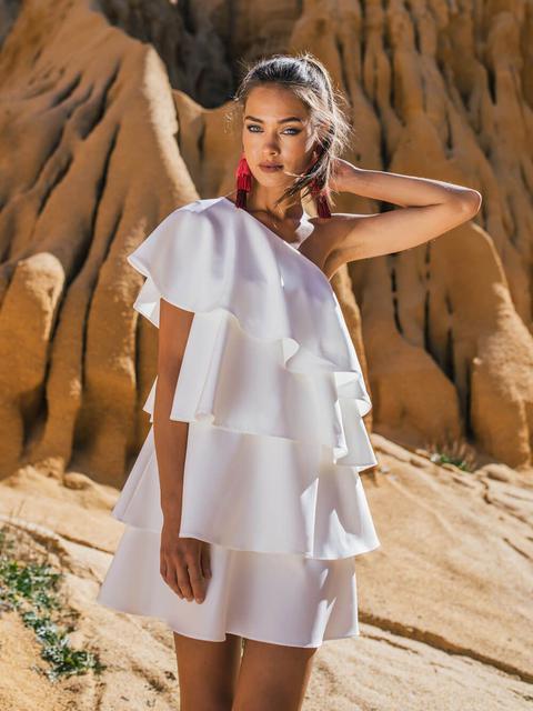 Vestido Mini Blanco Volantes de KAOA en 21 Buttons