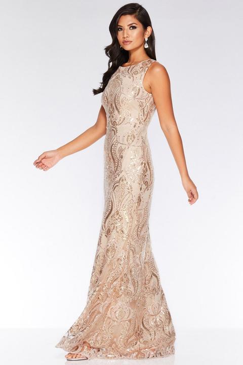 Champagne Sequin Embellished Maxi Dress