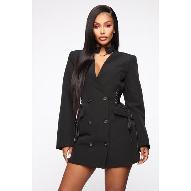 Boardin Jets Blazer Dress Black From, Fashion Nova Pea Coat