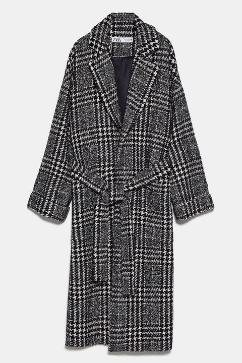 Abrigo Cuadros Cinturón de Zara en 21 Buttons