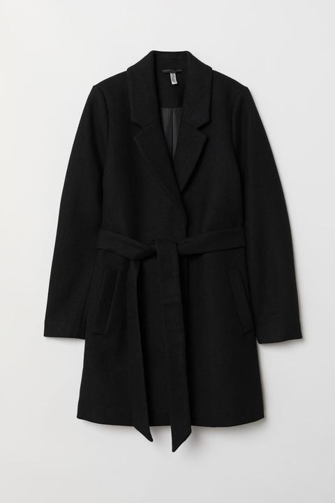 Abrigo Con Cinturón De Anudar - Negro de H&M en 21 Buttons
