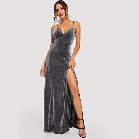 Vestido De Tirante Brillante Con Abertura