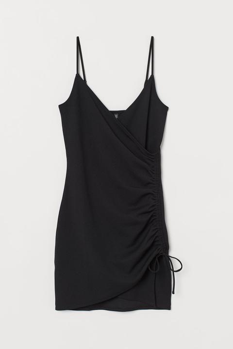 Vestido Con Cordón De Ajuste - Negro