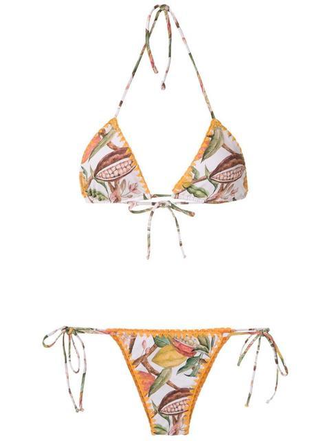 8af176c4a4f2 Zulu And Zephyr - Top Bikini A Triangolo A Punto Smock Color Cipria ...