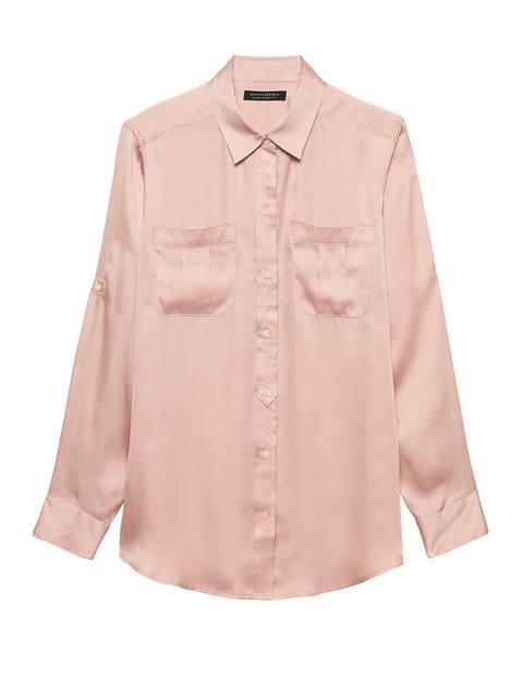 Petite Dillon Classic-fit Soft Satin Utility Shirt