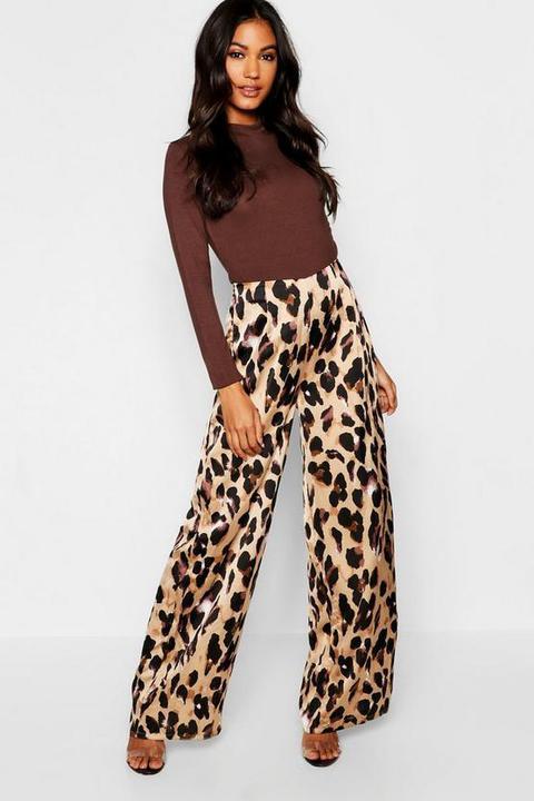 Satin Leopard Print Wide Leg Trouser
