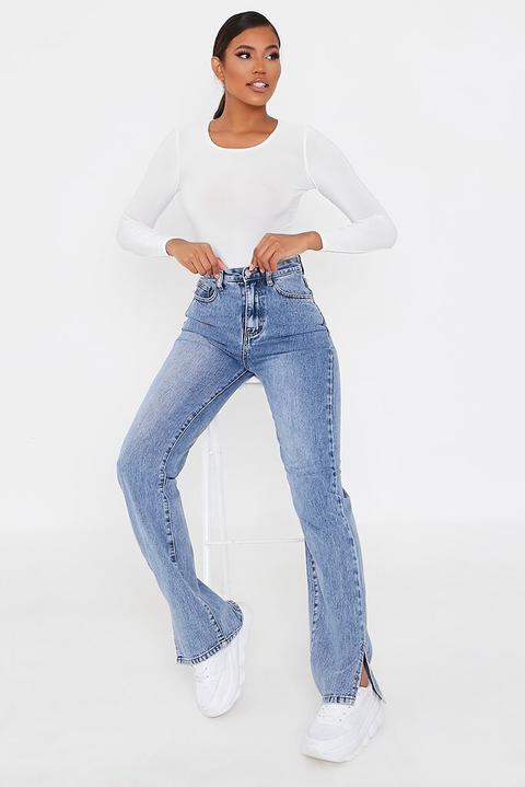 Mid Wash High Waisted Split Hem Jeans