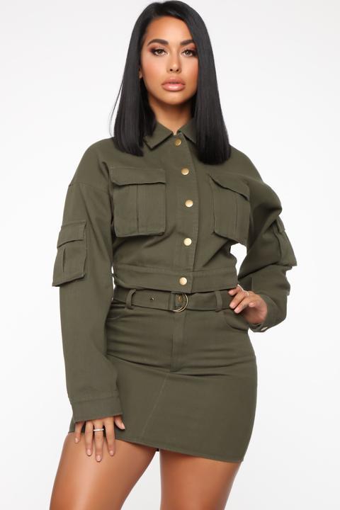 Jenna Denim Skirt Set - Olive from Fashion Nova on 21 Buttons