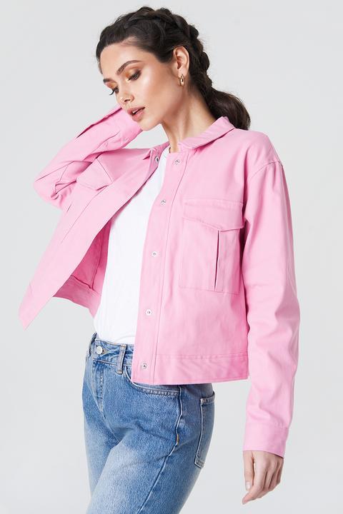 Cotton Short Jacket Pink de NA-KD en 21 Buttons